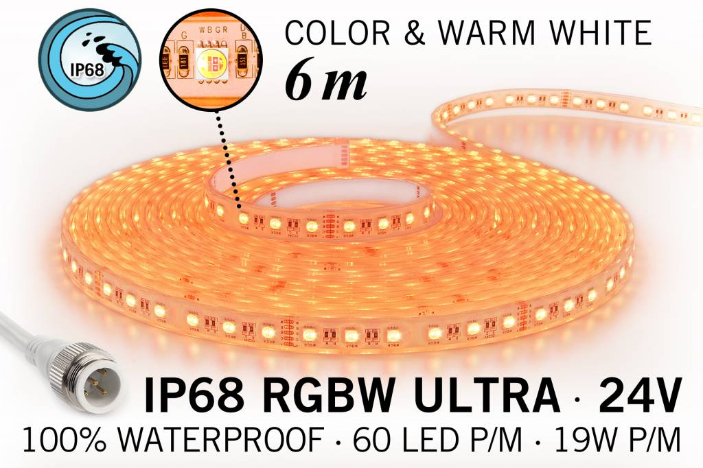RGB & Warm Wit IP68 Waterdicht Ultra 4 in 1 Led Strip | 60 Leds pm 6m Type 5050 24V 19,2W pm