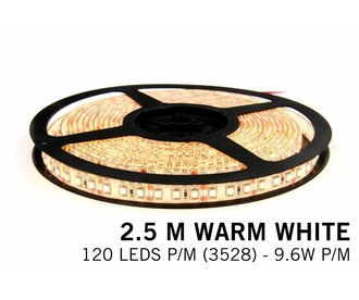 Warm Wit IP65 Led Strip | 2,5m 120 Leds pm Type 3528 12V Losse Strip