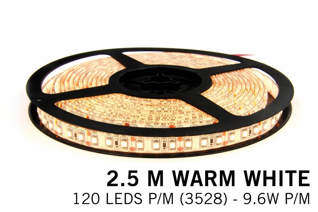Warm Wit Losse Led Strip | 2,5m 120 Leds pm Type 3528 12V 9,6W pm IP65