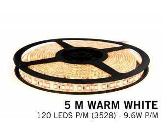 Warm Wit LED strip 120 leds p.m. - 5M - type 3528 - 12V - 9,6 W p.m.