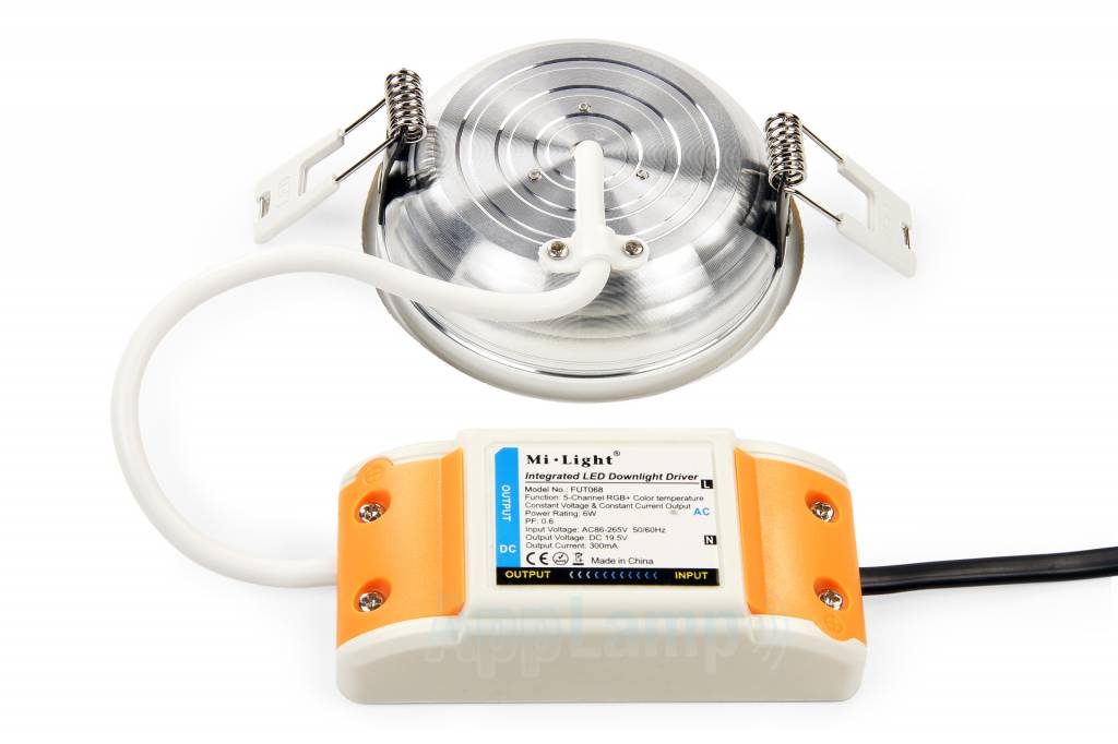 Mi·Light LED Inbouwspot met Afstandsbediening Mi-Light 6W RGBWW Kleur + Dual White 220V. Satijn Wit. Rond ⌀120mm