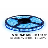 RGB LED strip 5 meter, 300 leds type 5050 12V (IP65)