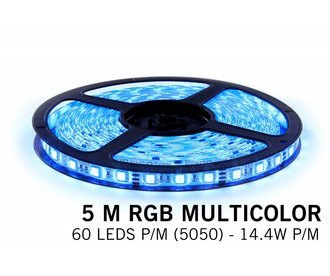 RGB Led Strip | 60 Leds pm 5m Type 5050 12V 14,4W pm Losse Strip
