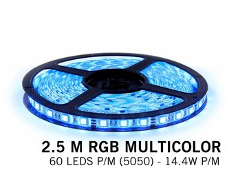 RGB LED strip 2,5 meter, 60 leds p.m. type 5050 12V
