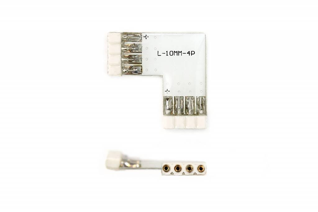Female 90° L-Connector 4 Pin voor 10mm RGB Led Strips