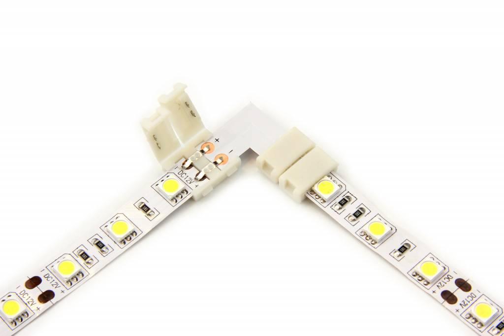 L-Connector voor 5050 en 3528 Witte Led Strips | Soldeervrij