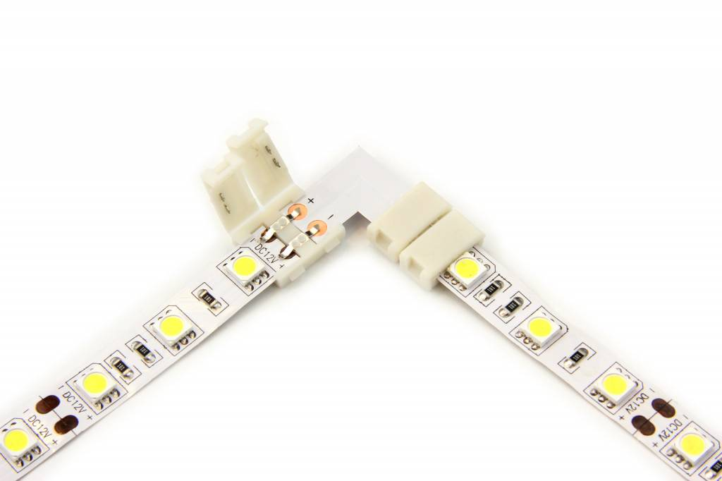 Witte LED strip 90° hoek L-connector