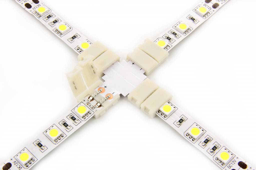 Witte LED strip X-connector, soldeervrij