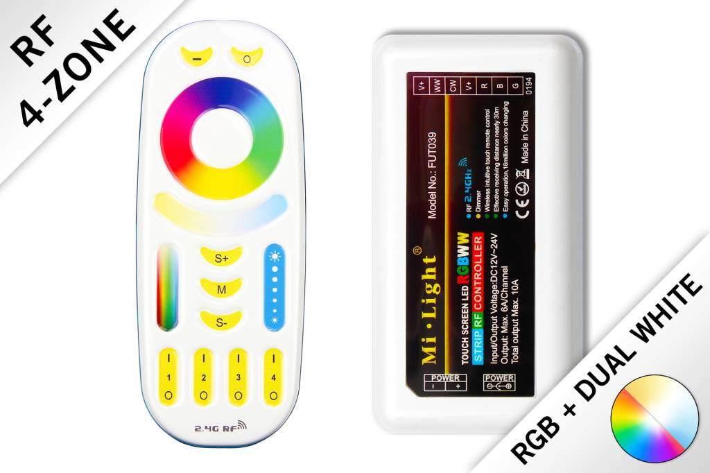 Mi·Light RF RGB Kleur+Dual White (CT) Controller *Nieuw* met RF afstandsbedienin