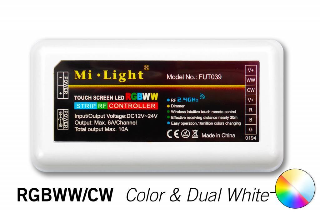 Mi·Light RGBWW  / RGBCCT Milight RF Controller 4 zones met Afstandsbediening | 12-24 Volt 10 Ampère