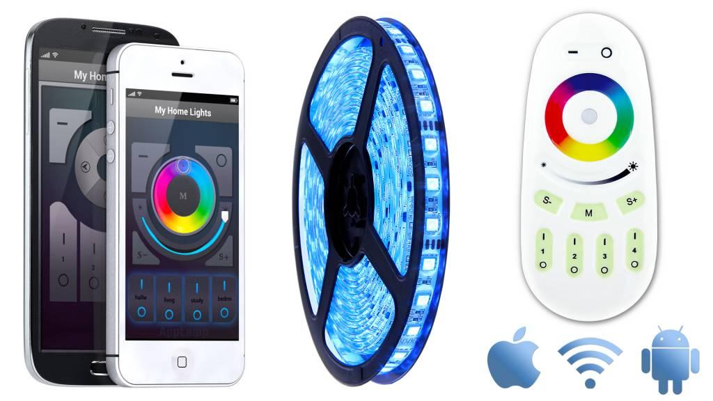 Mi·Light RGB Led Strip starterset met afstandsbediening & wifi-box | 5m 60 Leds pm Type 5050 12V 14,4W pm IP65