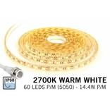 Warm Wit IP68 Waterdicht Led Strip | 60 Leds pm Type 5050 12V 14,4W pm