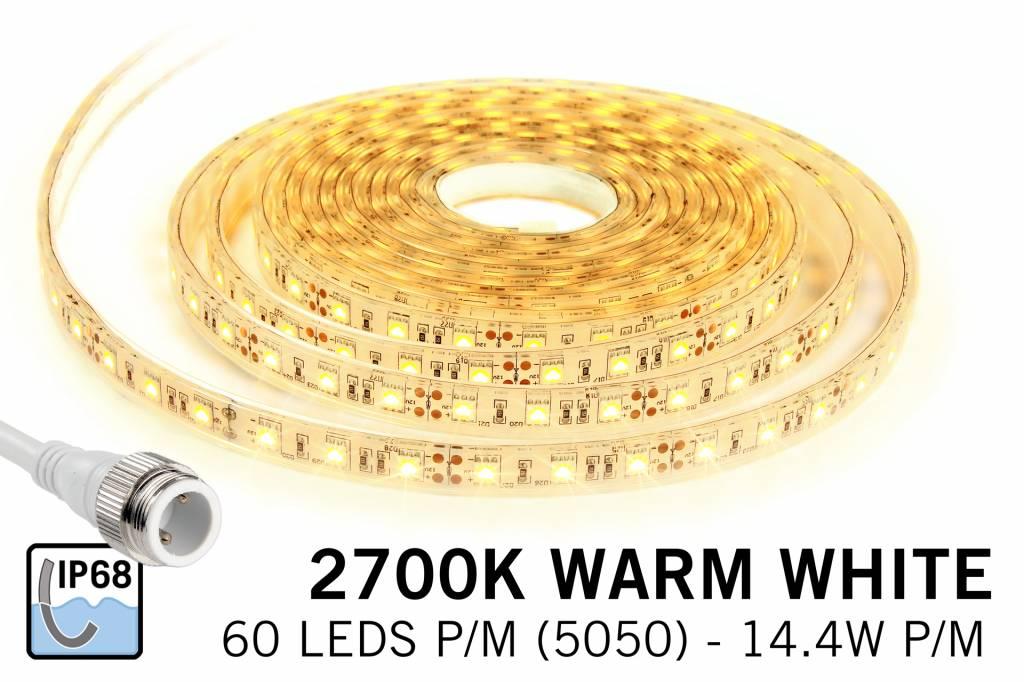 Waterdichte Warm Witte LED strip IP68 met 300 LED's, 1.5 of 5 meter,12V, 72W