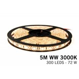 Dimbare LED strip set Warm Wit 5 m. 300 leds 72W IP65 (uitbreiding)