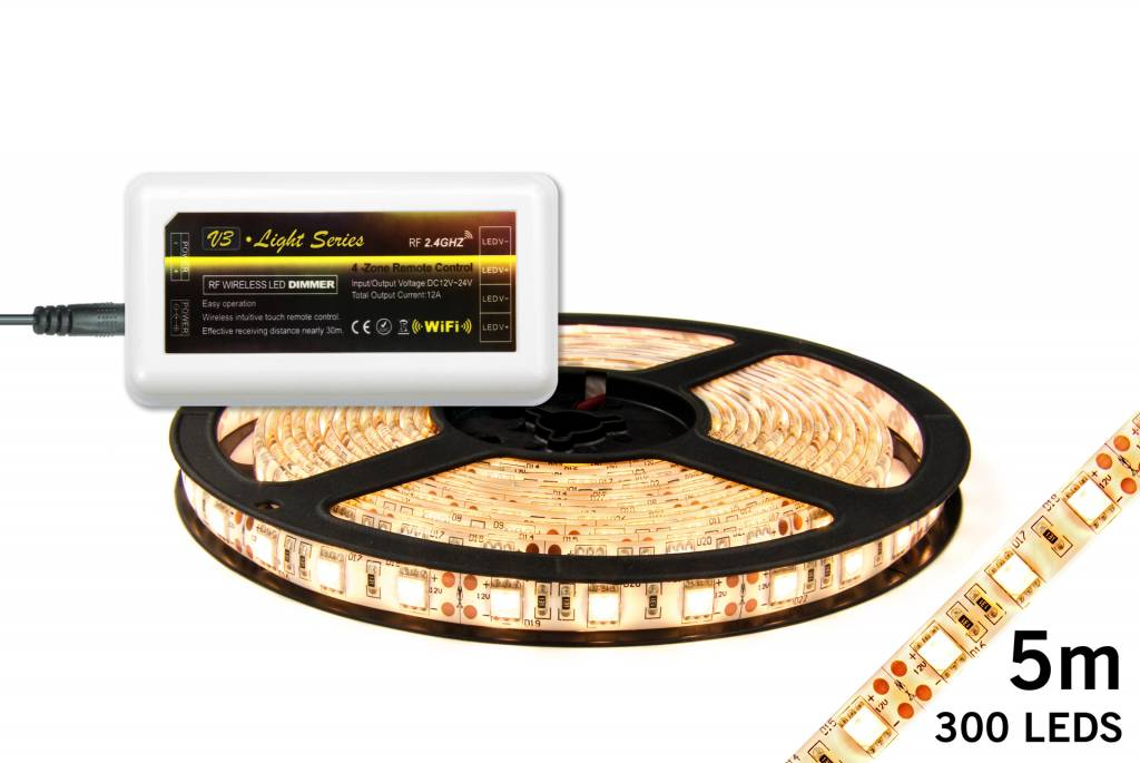 LED strip set Warm Wit 300 leds 72W 12V 5M IP65 (uitbreiding)