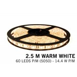 Warm Wit Losse Led Strip | 2,5m 60 Leds pm Type 5050 12V 14,4W pm