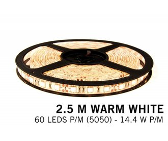 Warm Wit Led Strip | 2,5m 60 Leds pm Type 5050 12V Losse Strip