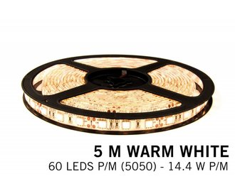 Warm Wit LED strip 60 leds p.m. - 5M - type 5050 - 12V - 14,4W/p.m