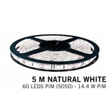 Neutraal Wit Losse Led Strip | 5m 60 Leds pm Type 5050 12V 14,4W pm IP65