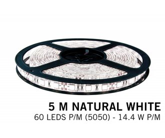 Neutraal Wit IP65 Led Strip | 5m 60 Leds pm Type 5050 12V Losse Strip