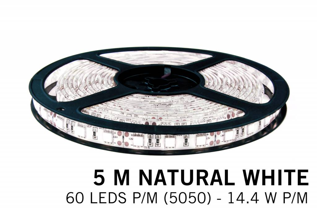 Neutraal Wit IP65 Led Strip | 5m 60 Leds pm Type 5050 12V Losse Strip