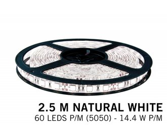 Neutraal witte LED strip 60 leds p.m. - 2,5M - type 5050 - 12V - 14,4W/p.m
