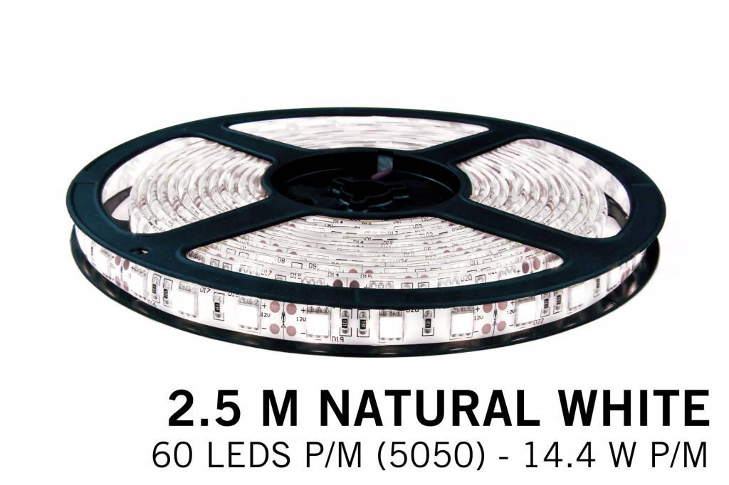 Neutraal Wit Losse Led Strip | 2,5m 60 Leds pm Type 5050 12V 14,4W pm IP65
