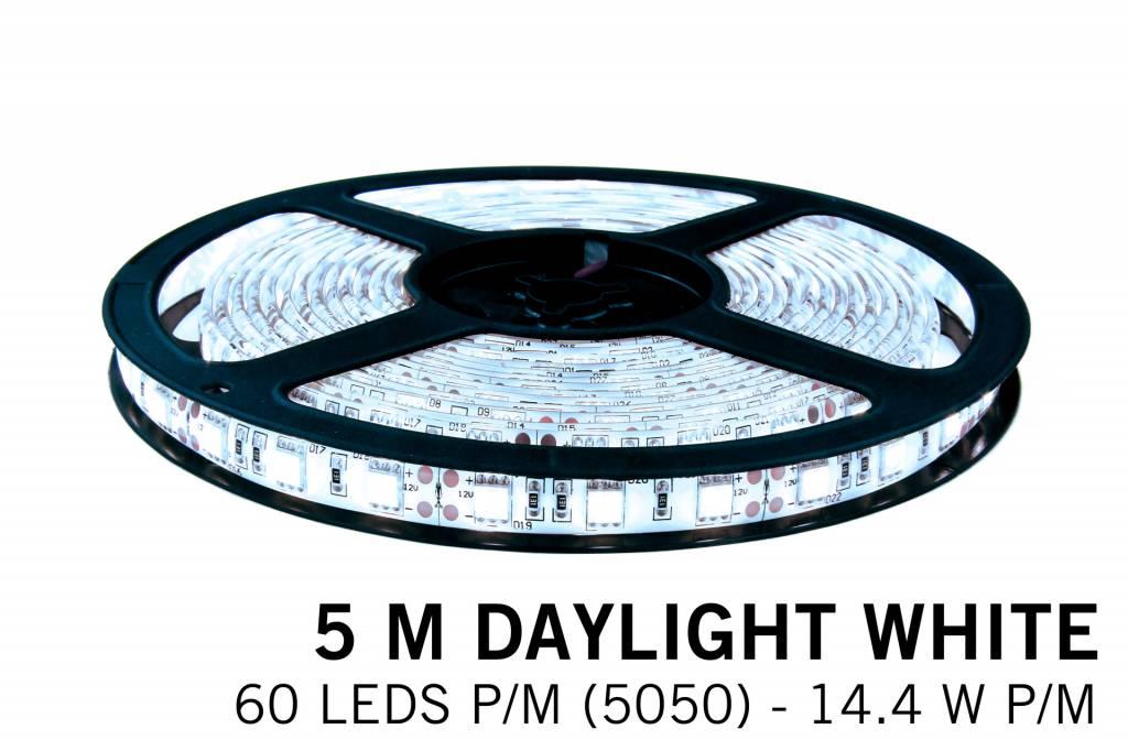 Koel Wit IP65 Led Strip | 5m 60 Leds pm Type 5050 12V Losse Strip