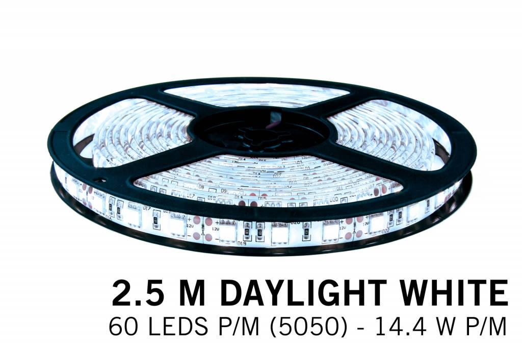 Koel Wit Losse Led Strip | 2,5m 60 Leds pm Type 5050 12V 14,4W pm IP65