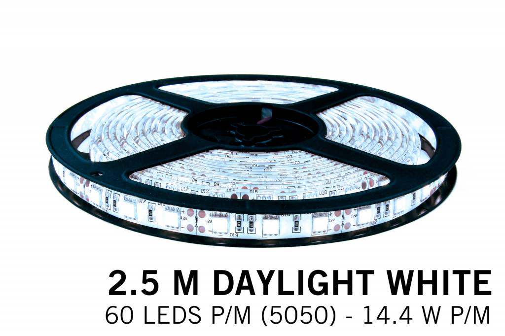 Koel witte LED strip 60 leds p.m. - 2,5M - type 5050 - 12V - 14,4W/p.m