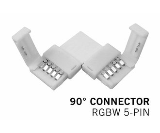 90° L-Connector voor voor 12mm RGBW | 5 Contacten | Soldeervrij