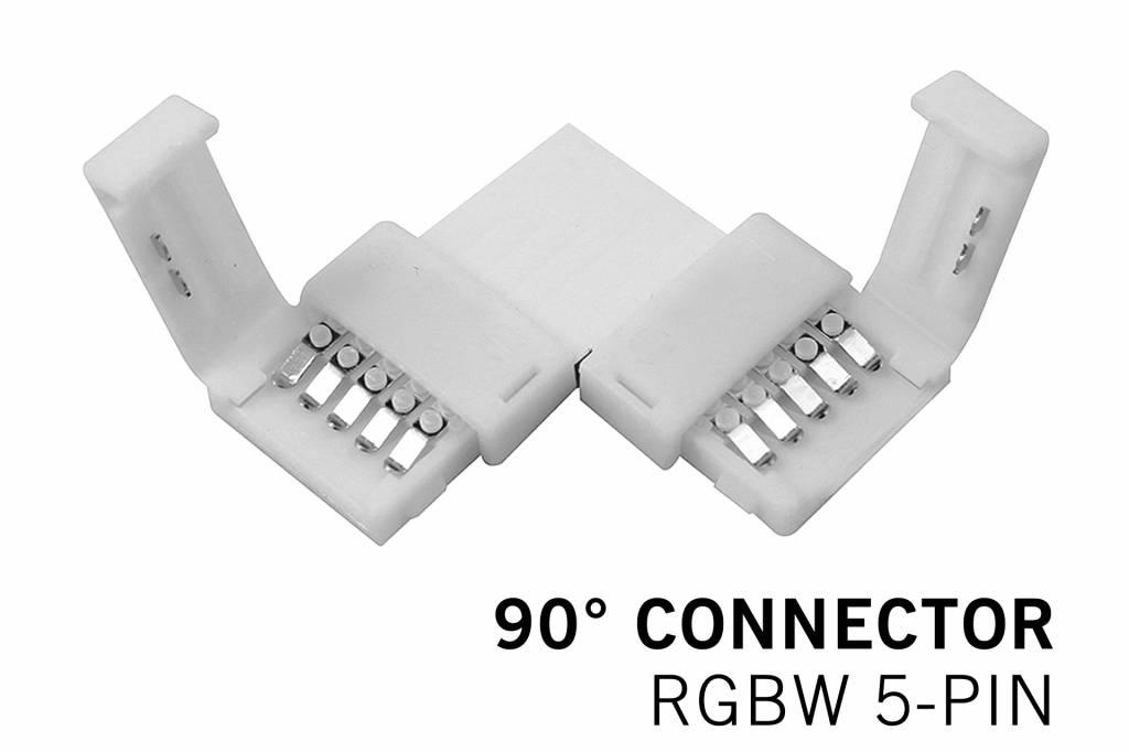 90° L-Connector voor RGBW Led Strips voor 12mm | 5 Contacten | Soldeervrij
