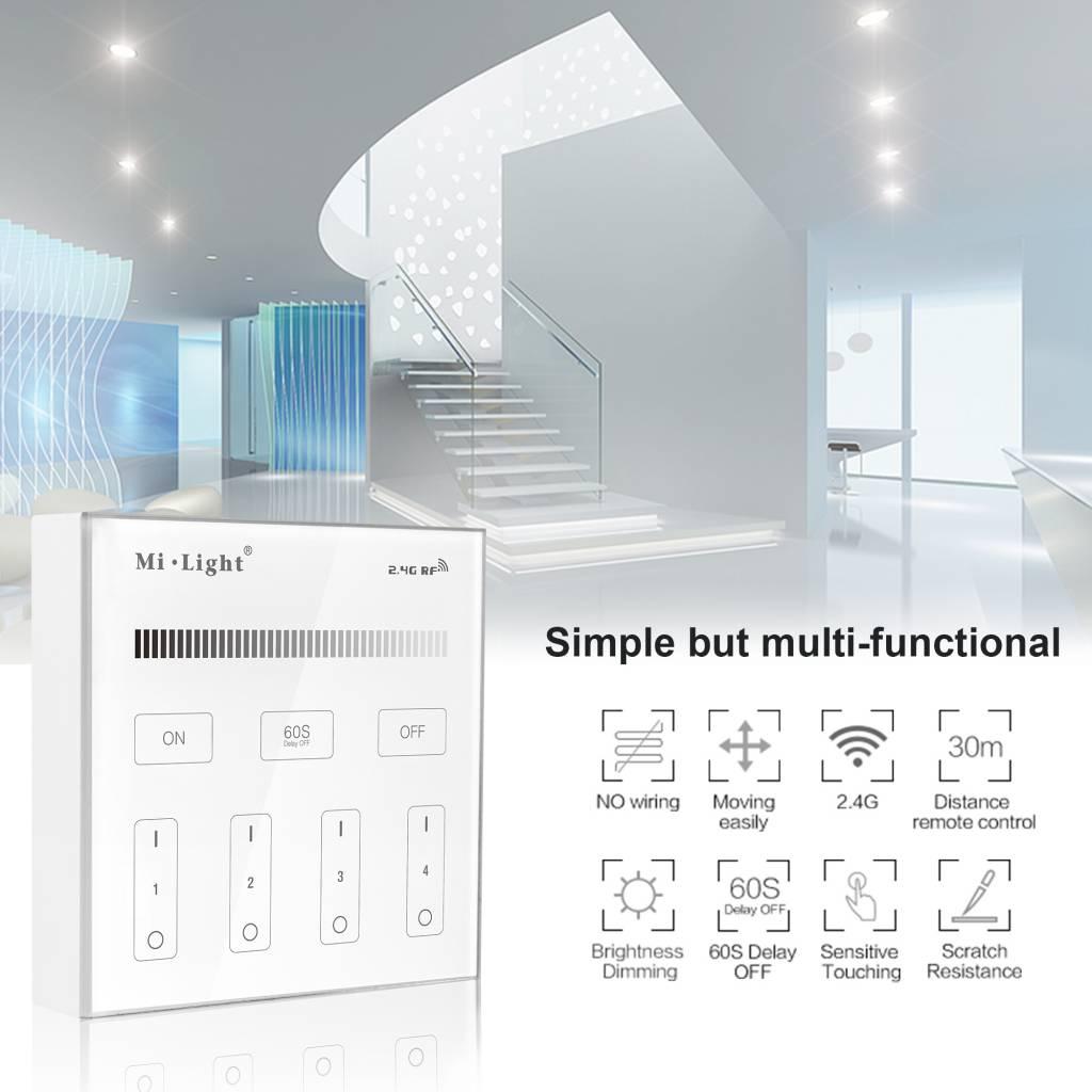 Mi-Light Opbouw Touch WandBediening Dimmer 4-zone, Enkele kleur, AAA Batterij
