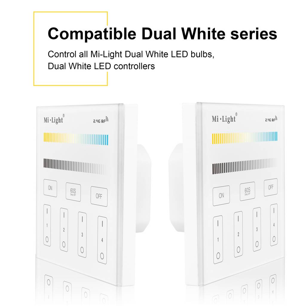 MiLight Inbouw Dual White RF Touch Dimmer Paneel 4-kanaals, 220V