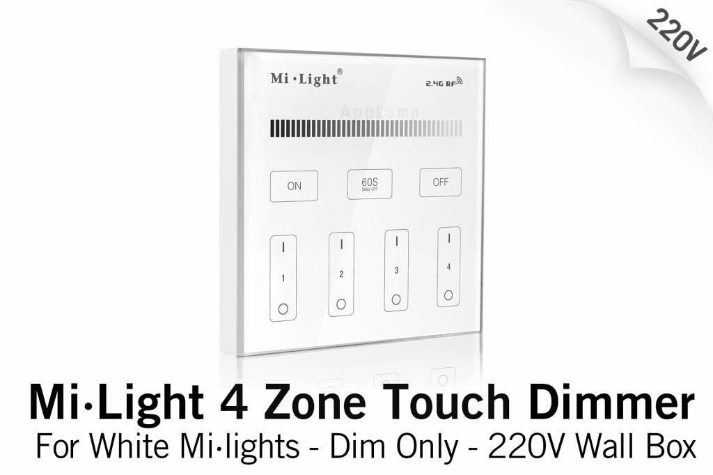 Mi·Light Mi-Light Inbouw RF Touch Dimmer Paneel 4-kanaals, Witte Verlichting 220V