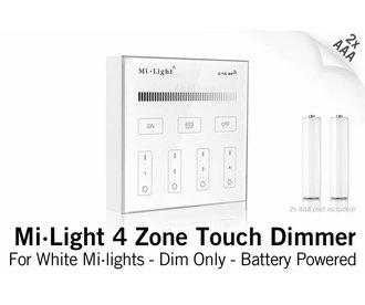MiLight RF Opbouw Touch WandBediening Dimmer 4-zone, Enkele kleur, AAA Batterij