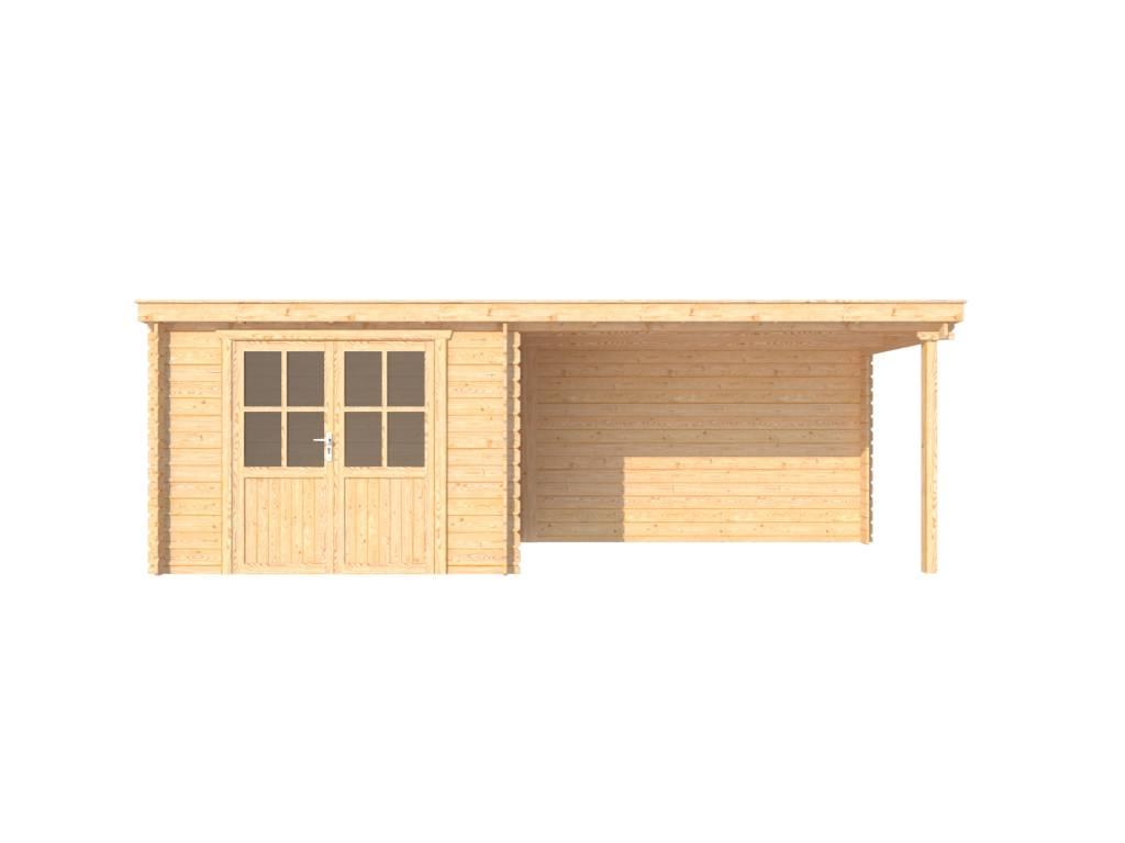 DWF Blokhut met overkapping lessenaar dak 300 x 200 + 350cm