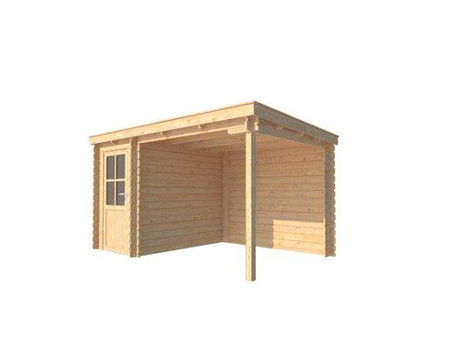 DWF Blokhut met overkapping lessenaar dak 150 x 250 + 250cm