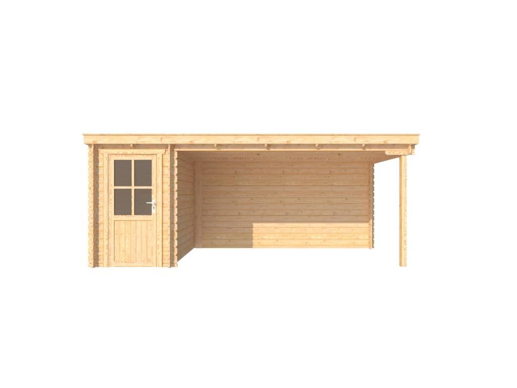 DWF Blokhut met overkapping lessenaar dak 150 x 250 + 400cm