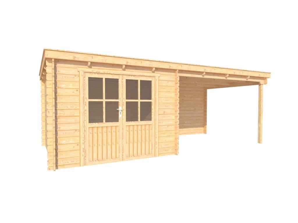 DWF Blokhut met overkapping lessenaar dak 300 x 300 + 350cm