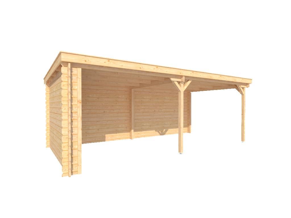 DWF Houten overkapping lessenaars dak 600 x 300cm