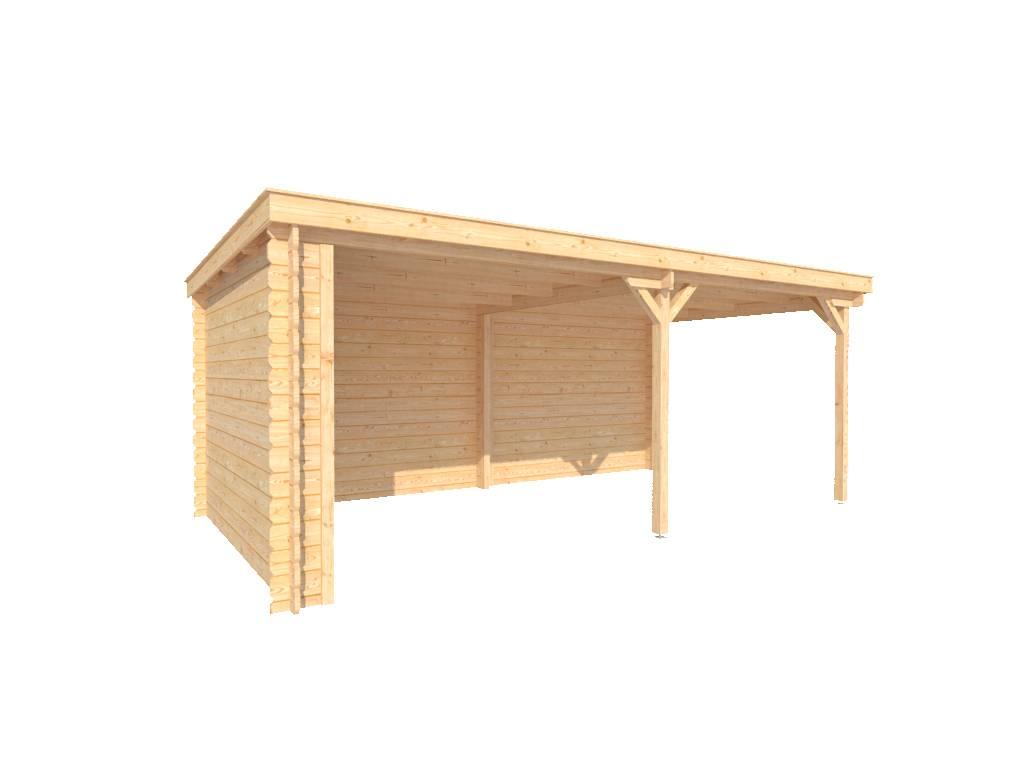 DWF Houten overkapping lessenaars dak 550 x 300cm