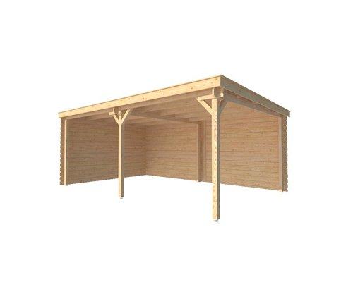 DWF Houten overkapping lessenaars dak 550 x 350cm