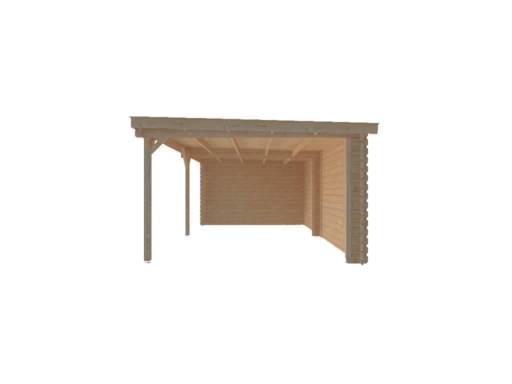 DWF Houten overkapping lessenaars dak 600 x 350cm