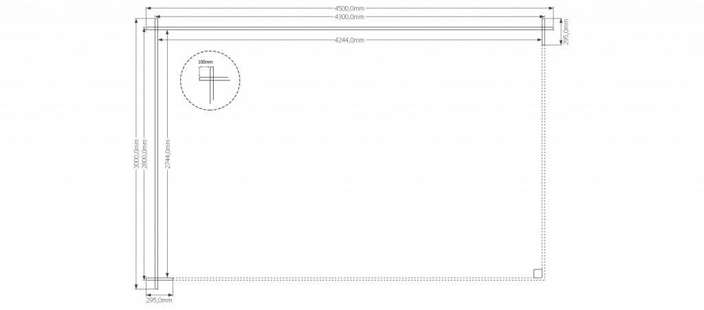 DWF Houten overkapping zadeldak 450 x 300cm