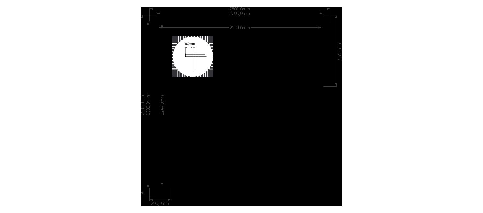 DWF Houten overkapping plat dak 250 x 250cm
