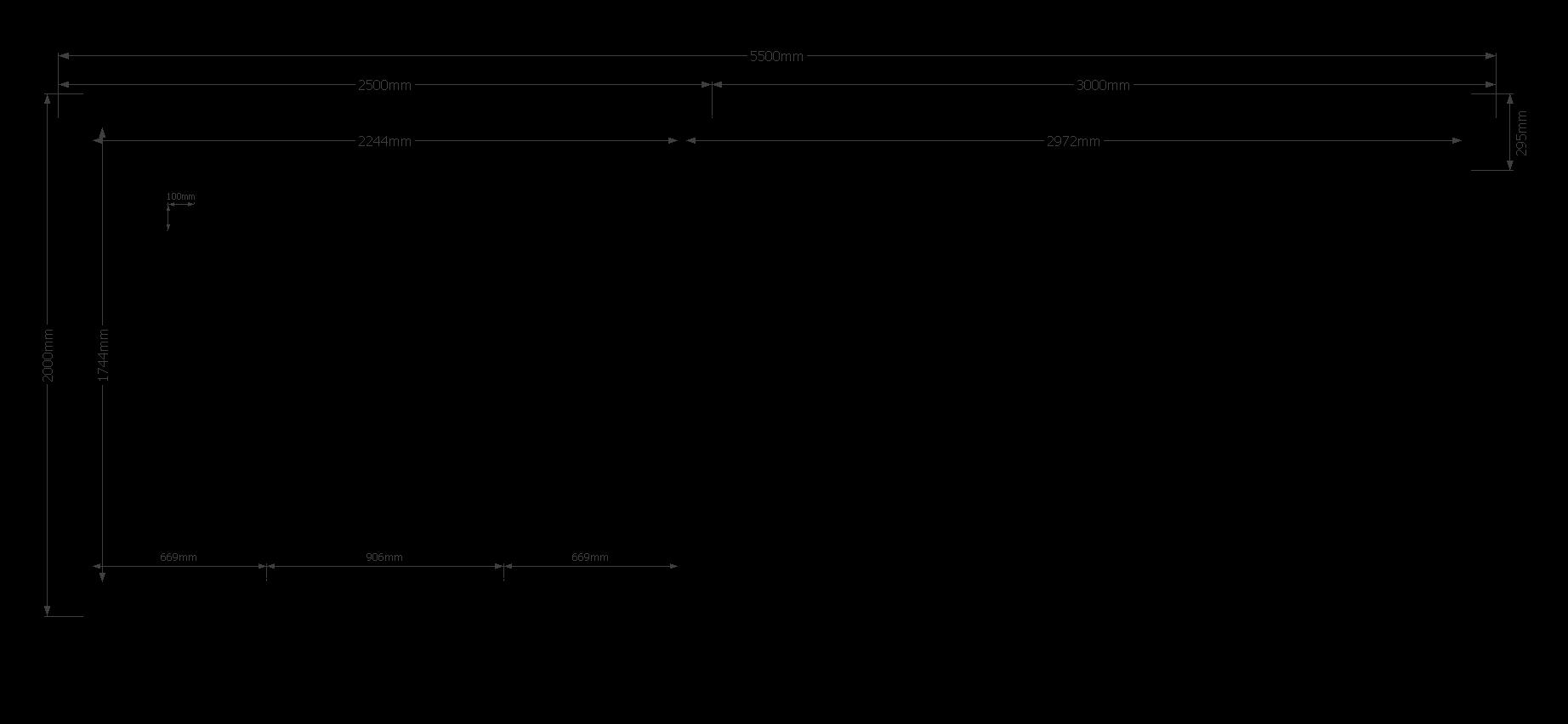 DWF Blokhut met overkapping zadeldak 250 x 200 + 300cm