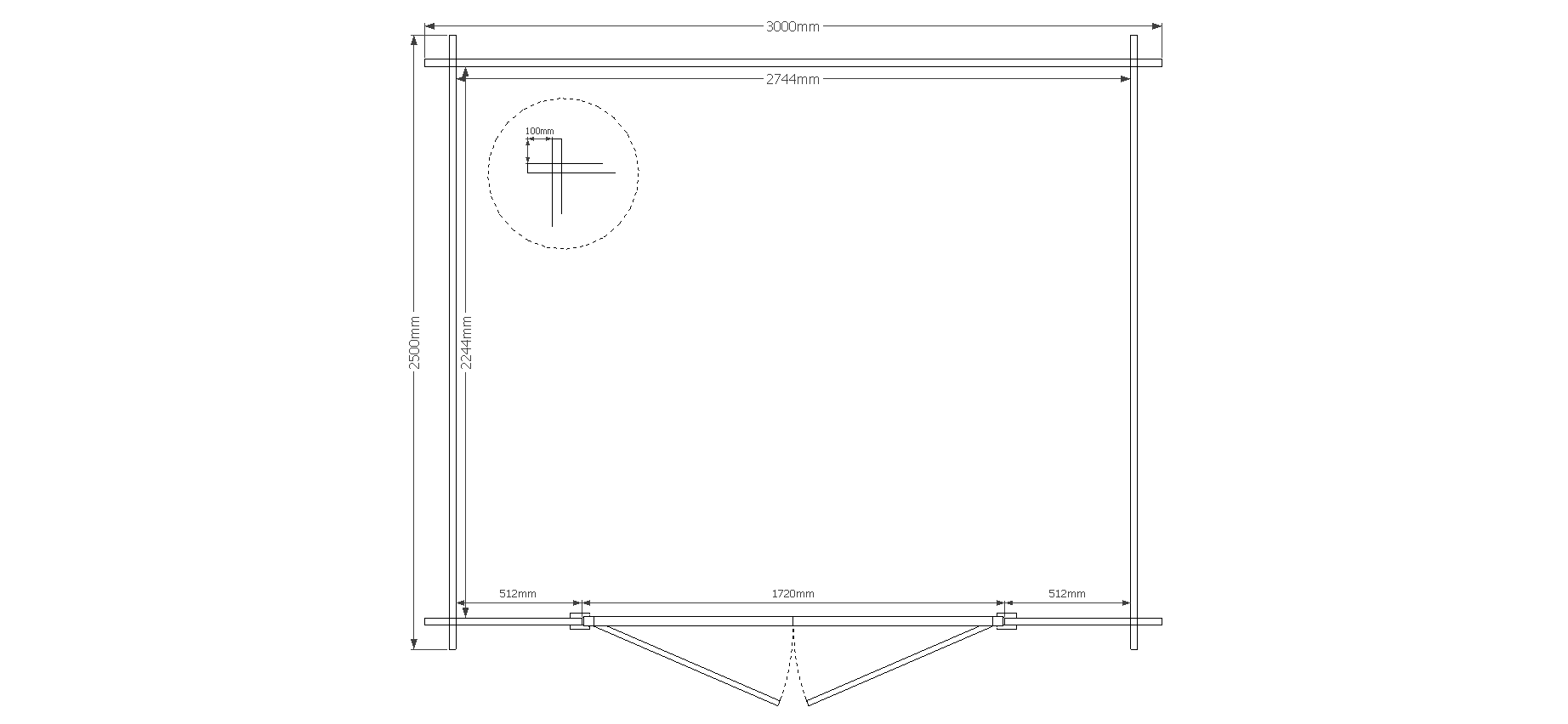 DWF Blokhut zadeldak 300 x 250cm