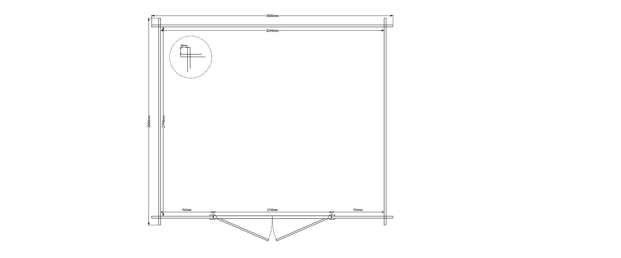 DWF Blokhut zadeldak 350 x 300cm