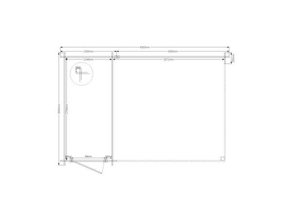 DWF Blokhut met overkapping lessenaar dak 150 x 300 + 300cm